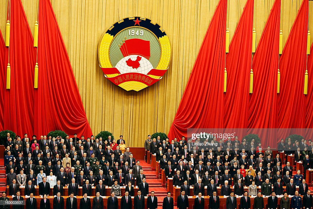 China's leaders attend the opening session of the Chinese People's Political Consultative Conference at Great Hall of the People on March 3, 2013 in Beijing, China. Over 2000 members of the 12th National Committee of the Chinese People's Political Consultative, a political advisory body, are attending the annual session, during which they will discuss the development of China.