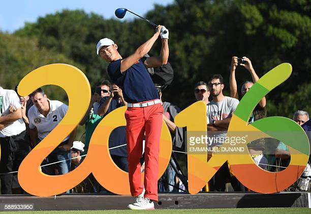 China's Li Haotong competes in the men's individual stroke play at the Olympic Golf course during the Rio 2016 Olympic Games in Rio de Janeiro on...