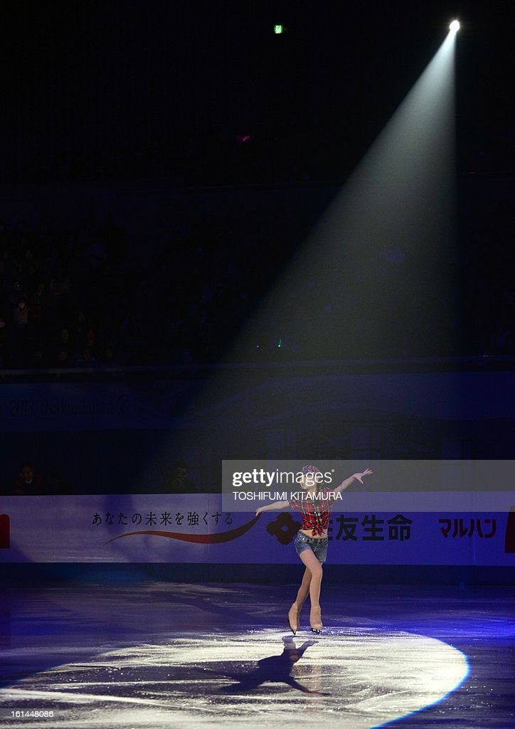 China's Li Zijun performs her ladies routine in the gala exhibition event after the Four Continents figure skating championships in Osaka on February 11, 2013. AFP PHOTO / TOSHIFUMI KITAMURA