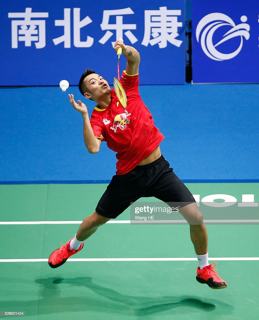 China's <a gi-track='captionPersonalityLinkClicked' href=/galleries/search?phrase=Lin+Dan&family=editorial&specificpeople=211013 ng-click='$event.stopPropagation()'>Lin Dan</a> returns a shot to Lee Dong Keun of Korea during the 2016 Asia badminton championship on April 29, 2016 in Wuhan, Hubei province, China.