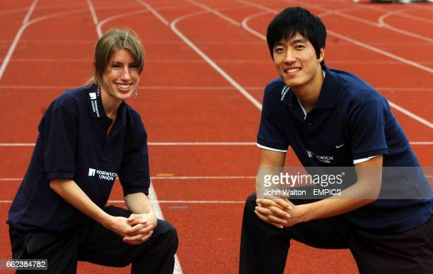 China's Liu Xiang the 110m hurdles world champion with Sheffield based steeplechaser Hatti Dean
