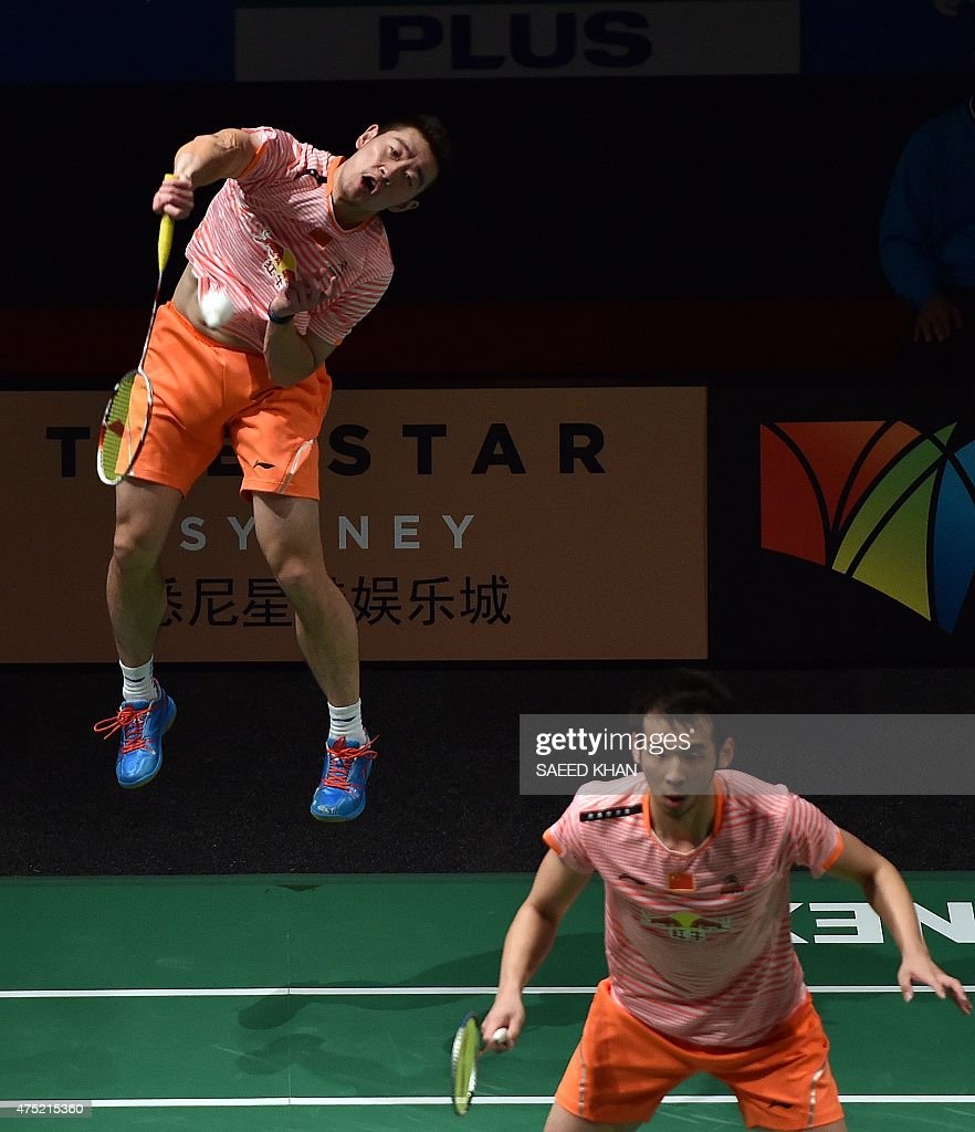 China s Lu Kai R and Liu Cheng pete against countrymen Liu