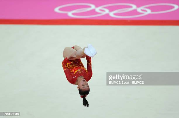 China's Lu Sui competes on the floor during the Artistic Gymnastics Women's team final at the North Greenwich Arena London during day four of the...