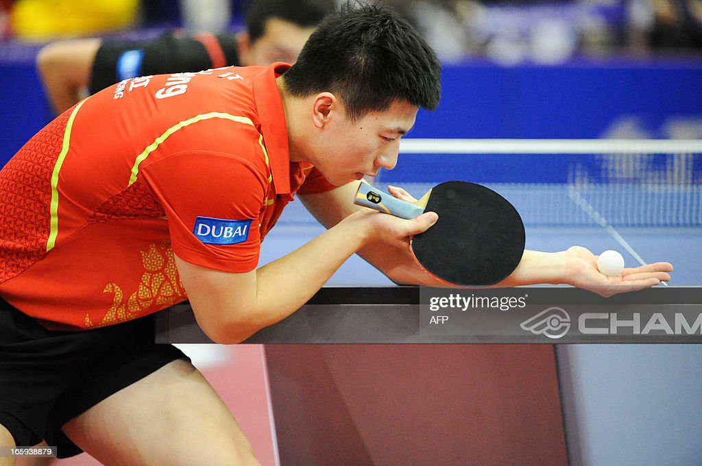 China's Ma Long competes during the men's singles Final table tennis match of the ITTF Korea Open in Incheon, South Korea on April 7, 2013. AFP PHOTO / KIM Doo-Ho