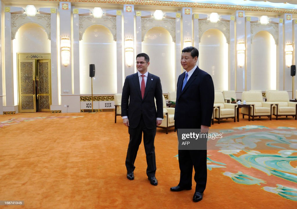 China's new Communist Party chief Xi Jinping (R) meets with Vuk Jeremic (L), president of the 67th Session of the UN General Assembly, at the Great Hall of the People in Beijing on December 27, 2012. Jeremic is paying an official visit to China from December 26 to 28.