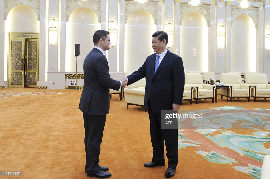 China's new Communist Party chief Xi Jinping (R) shakes hands with Vuk Jeremic (L), president of the 67th Session of the UN General Assembly, at the Great Hall of the People in Beijing on December 27, 2012. Jeremic is paying an official visit to China from December 26 to 28.