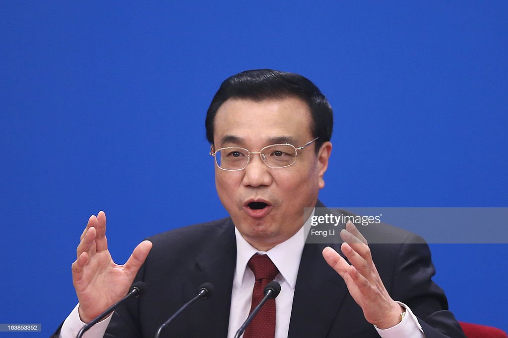 China's newly elected Premier Li Keqiang speaks during a news conference after the closing session of the National People's Congress (NPC) at the Great Hall of the People on March 17, 2013 in Beijing, China. Chinese Premier Li Keqiang has vowed to tackle with mounting problems of environment pollution and food safety on Sunday.
