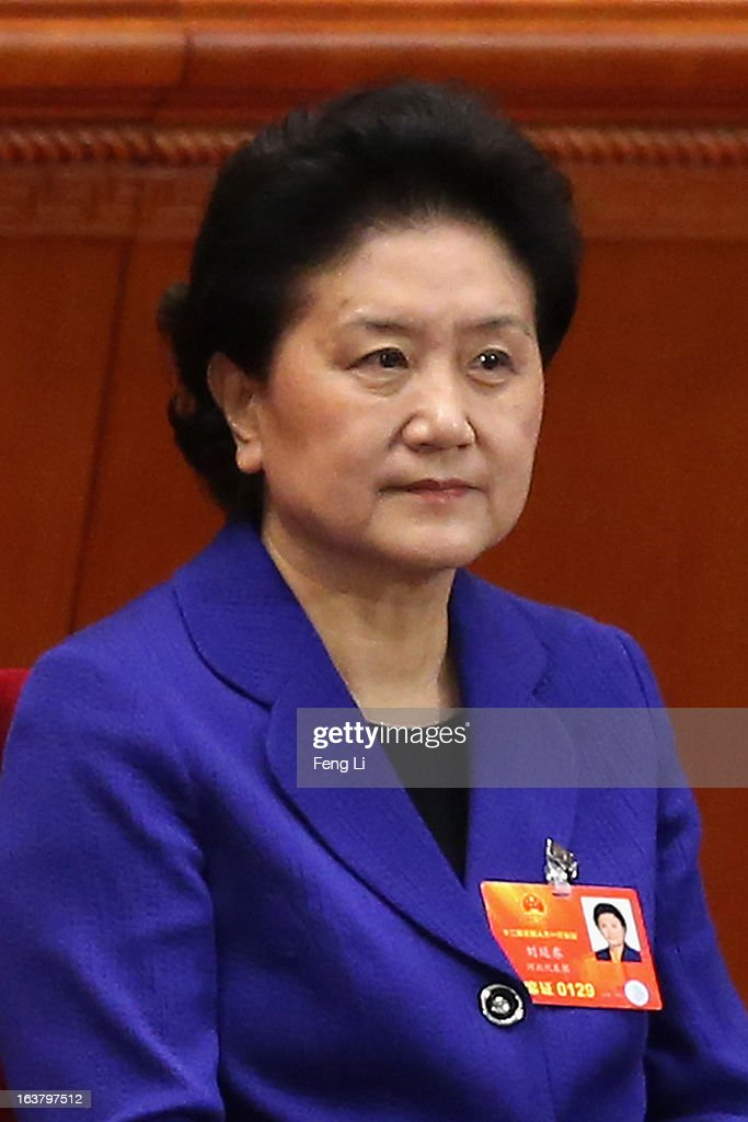 China's newly-elected Vice Premier Liu Yandong attends the sixth plenary meeting of the National People's Congress at the Great Hall of the People on March 16, 2013 in Beijing, China. The new lineup of China's State Council, nominated by Premier Li Keqiang, was endorsed by lawmakers at the ongoing national legislative session Saturday afternoon.