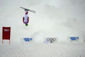 China's Ning Qin competes in the Women's Freestyle Skiing Moguls qualifications at the Rosa Khutor Extreme Park during the Sochi Winter Olympics on...