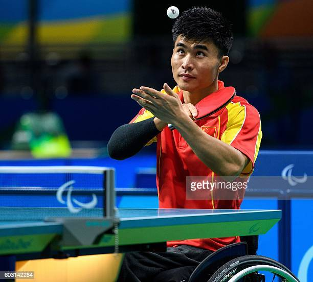 China's Ningning Cao plays against Germany's Valentin Baus in their Men's Singles Class 5 Gold Medal table tennis match during the Paralympic Games...