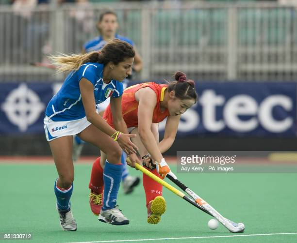 China's Peng Yang challenges with the Italy's Dalia Mirabella during the opening group game in the Investec World League Semi Final Chiswick