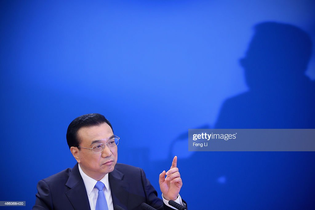 China's Premier <a gi-track='captionPersonalityLinkClicked' href=/galleries/search?phrase=Li+Keqiang&family=editorial&specificpeople=2481781 ng-click='$event.stopPropagation()'>Li Keqiang</a> answers question during the annual news conference following the closing session of the National People's Congress at the Great Hall of the People on March 15, 2015 in Beijing, China.