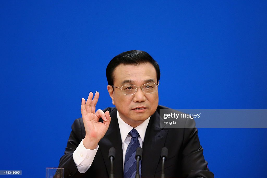 China's Premier <a gi-track='captionPersonalityLinkClicked' href=/galleries/search?phrase=Li+Keqiang&family=editorial&specificpeople=2481781 ng-click='$event.stopPropagation()'>Li Keqiang</a> speaks during a press conference after the closing session of the National People's Congress (NPC) at the Great Hall of the People on March 13, 2014 in Beijing, China. China will not give up its efforts in searching for a missing Malaysia Airlines flight with 154 Chinese aboard, Premier <a gi-track='captionPersonalityLinkClicked' href=/galleries/search?phrase=Li+Keqiang&family=editorial&specificpeople=2481781 ng-click='$event.stopPropagation()'>Li Keqiang</a> said on Thursday.