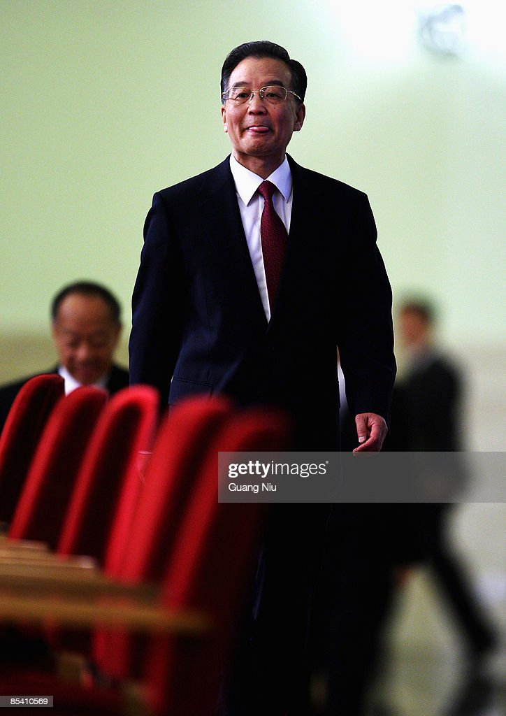 China's Premier Wen Jiabao arrives at a news conference at the Great Hall of the People after the closing session of the National People's Congress on March 13, 2009 in Beijing, China. on March 13, 2009 in Beijing, China.
