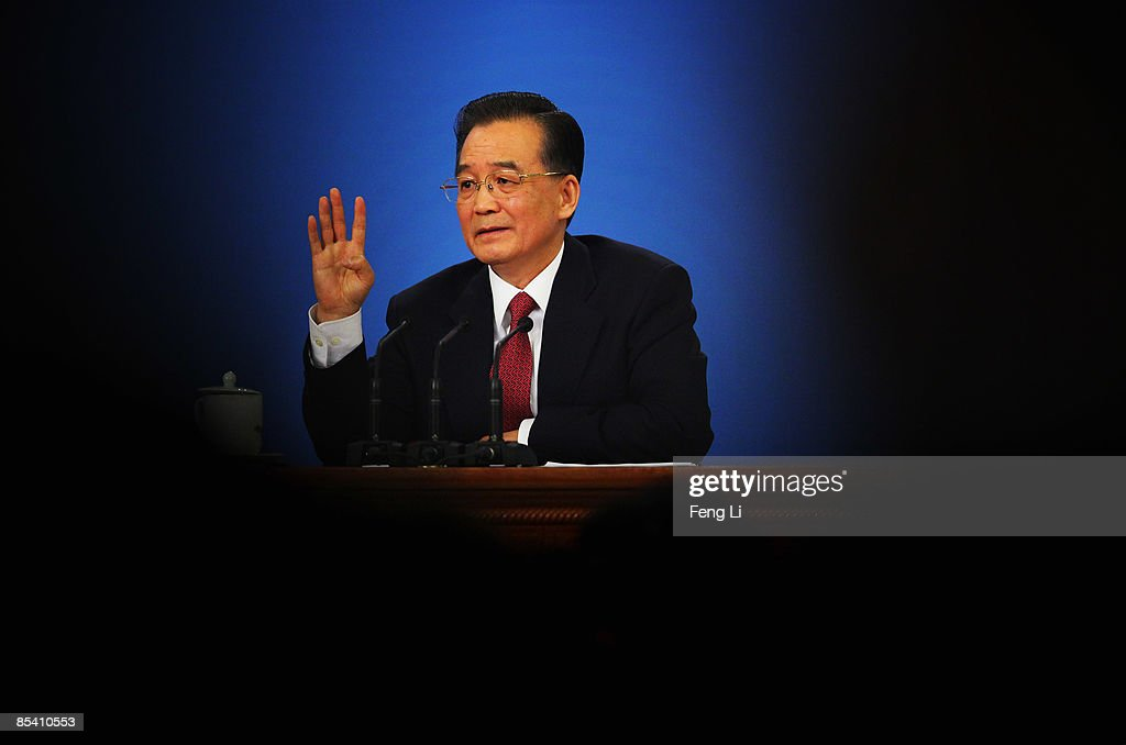 China's Premier Wen Jiabao gestures as he answers a question at a news conference at the Great Hall of the People after the closing session of the National People's Congress on March 13, 2009 in Beijing, China.