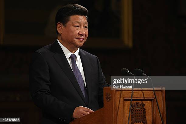 China's President Xi Jinping addresses MPs and peers in Parliament's Royal Gallery on October 20 2015 in London England The President of the People's...