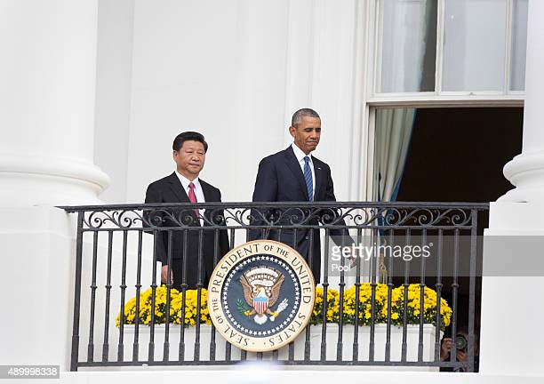 China's President Xi Jinping and US President Barack Obama participate in an official State Visit on the South Lawn of the White House September 25...