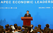 China's President Xi Jinping attends the closing press conference of the AsianPacific Economy Cooperation Summit outside of Beijing China APEC is a...