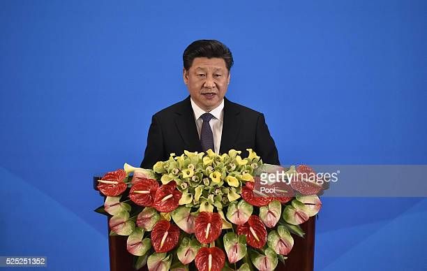 China's President Xi Jinping delivers a speech at the opening ceremony of the fifth regular foreign ministers' meeting of the Conference on...