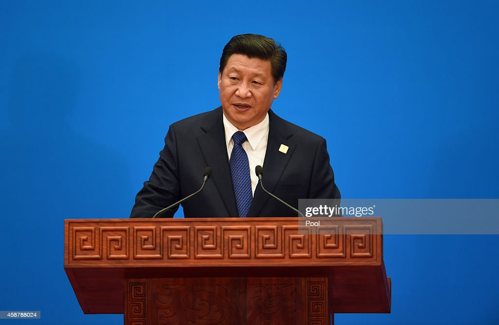China's President <a gi-track='captionPersonalityLinkClicked' href=/galleries/search?phrase=Xi+Jinping&family=editorial&specificpeople=2598986 ng-click='$event.stopPropagation()'>Xi Jinping</a> speaks at the closing press conference of the Asian-Pacific Economy Cooperation (APEC) Summit outside of Beijing, China. APEC is a forum for the 21 Pacific Rim member economies and at this year's gathering, has offered China an opportunity to boost its role as a regional power through a series of trade and finance deals.