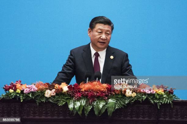 China's President Xi Jinping speaks at the opening ceremony of the 'CPC in dialogue with world political parties highlevel meeting at the Great Hall...