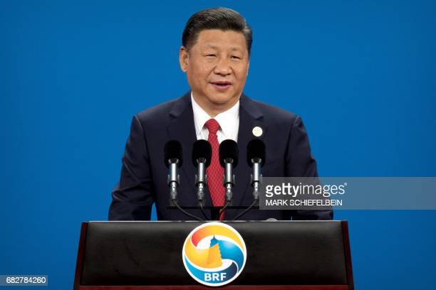 China's President Xi Jinping speaks during the opening ceremony of the Belt and Road Forum at the China National Convention Center in Beijing on May...