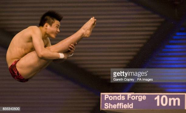 China's Qiu Bo during the Men's Platform Semi final A during the FINA Diving World Series at Ponds Forge Sheffield