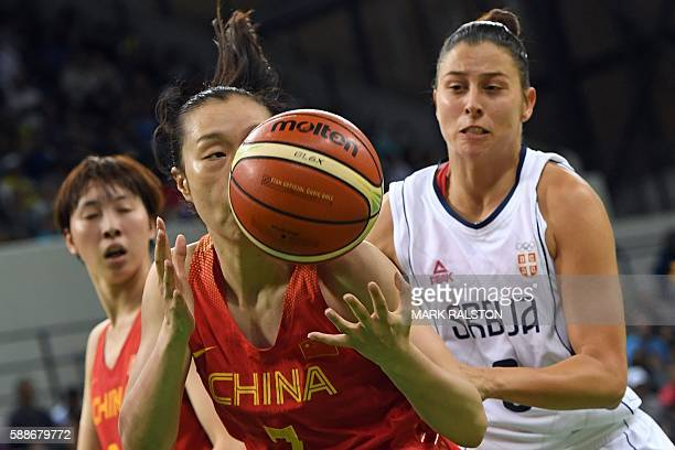 China's small forward Shao Ting and Serbia's shooting guard Nevena Jovanovic eye a rebound during a Women's round Group B basketball match between...