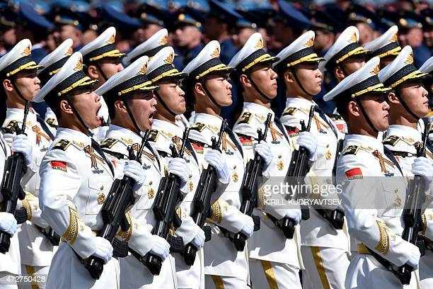 China's soldiers march through Red Square during the Victory Day military parade in Moscow on May 9 2015 Russian President Vladimir Putin presided...