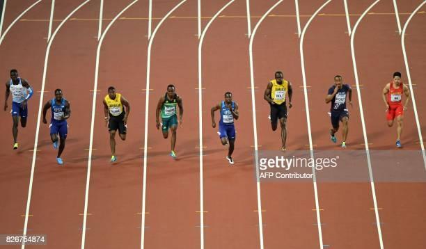 China's Su Bingtian France's Jimmy Vicaut Jamaica's Usain Bolt US athlete Christian Coleman South Africa's Akani Simbine Jamaica's Yohan Blake US...