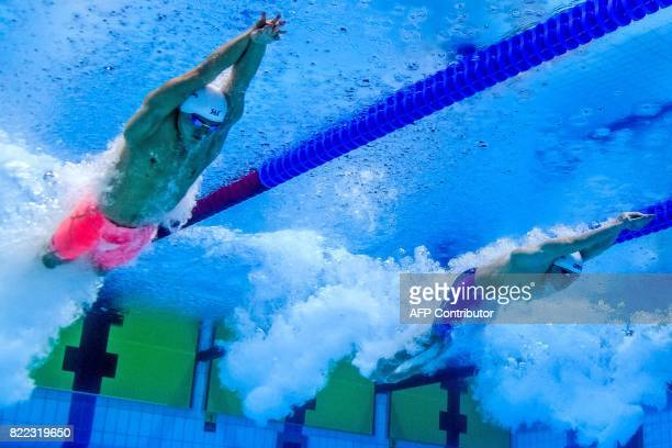 China's Sun Yang competes in the men's 200m freestyle final during the swimming competition at the 2017 FINA World Championships in Budapest on July...