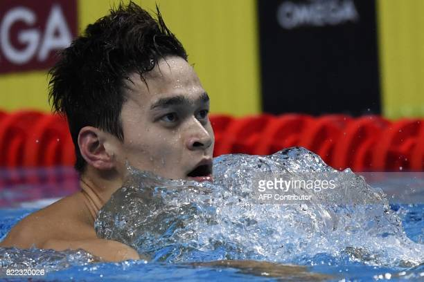TOPSHOT China's Sun Yang reacts after competing in the men's 200m freestyle final during the swimming competition at the 2017 FINA World...