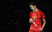 China's Sun Yu celebrates her victory against China's Li Xuerui in the women's singles semifinal at the Australian Open badminton tournament in...