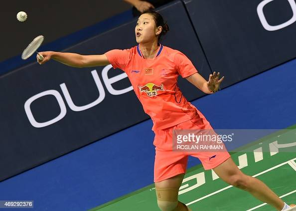 China's Sun Yu plays against compatriot Wang Shixian in their women's single semifinals of the Singapore Open on April 11 2015 AFP PHOTO / ROSLAN...