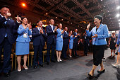 China's Vice Premier Liu Yandong waves to the Chinese delegation after the Beijing 2022 Olympic Winter Games bid presentation at the 128th IOC...