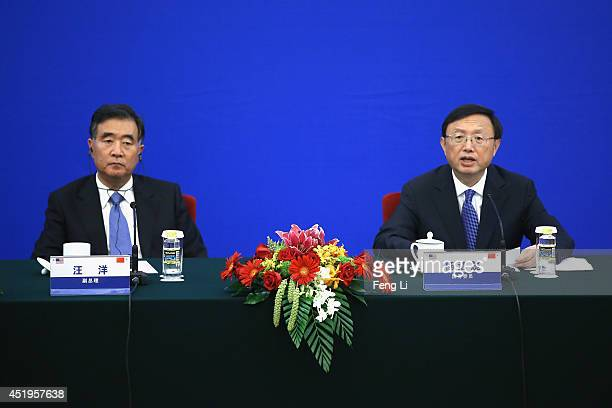 China's Vice Premier Wang Yang and China's State Councillor Yang Jiechi attend a press conference of the 6th ChinaUS Security and Economic Dialogue...