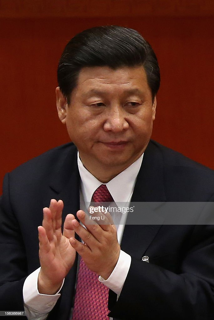 China's Vice President <a gi-track='captionPersonalityLinkClicked' href=/galleries/search?phrase=Xi+Jinping&family=editorial&specificpeople=2598986 ng-click='$event.stopPropagation()'>Xi Jinping</a> attends the closing session of the 18th National Congress of the Communist Party of China (CPC) at the Great Hall of the People on November 14, 2012 in Beijing, China. Members of the Standing Committee of the Political Bureau of the new CPC Central Committee will meet with journalists on November 15, 2012.