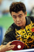 China's Wang Hao plays against his compatriot Ma Lin in the men's singles table tennis final match at the 2008 Beijing Olympic Games on August 23...
