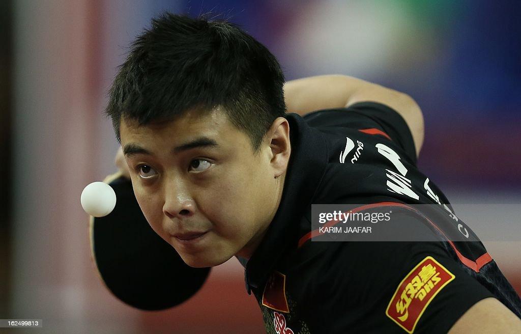 China's Wang Hao returns the ball to China's Yan An during the men's singles semi-final table tennis match of the ITTF Pro Tour Qatar Open on February 24, 2013 in the Qatari capital, Doha. AFP PHOTO / AL-WATAN DOHA / KARIM JAAFAR == QATAR OUT ==