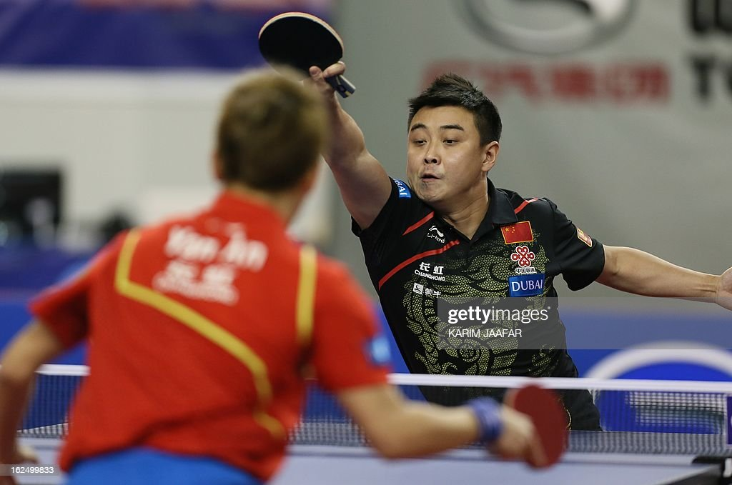 China's Wang Hao returns the ball to China's Yan An during the men's singles semi-final table tennis match of the ITTF Pro Tour Qatar Open on February 24, 2013 in the Qatari capital, Doha.