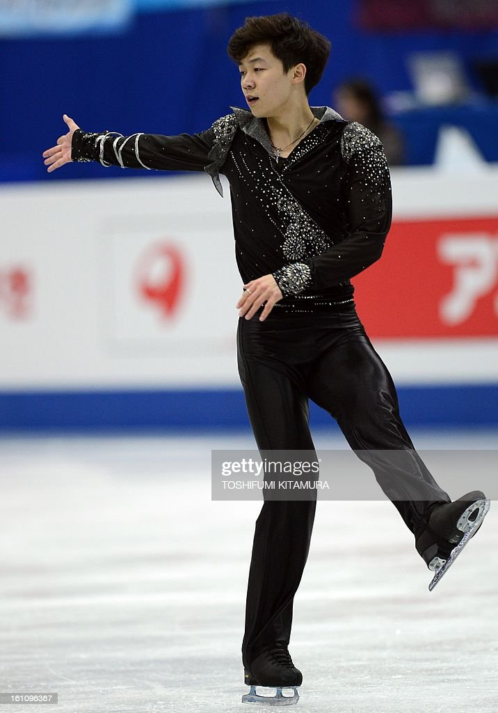 China's Wang Yi performs his free skating in the men's event during the Four Continents figure skating championships in Osaka on February 9, 2013.