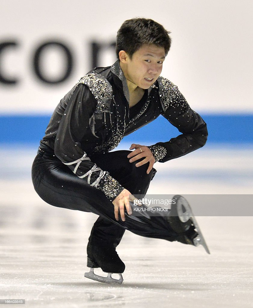 China's Wang Yi performs in the men's free skating at the World Team Trophy figure skating competition in Tokyo on April 12, 2013.