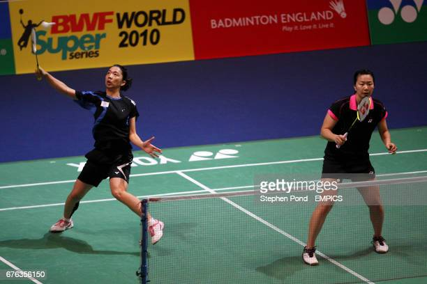 China's Wen Hsing Chen and Yu Chin Chien in action against Russia's Petya Nedelcheva and Anastasia Russkikh on day three of the Yonex All England...