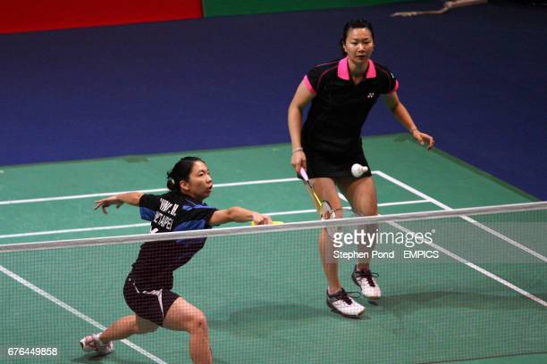 China's Wen Hsing Chen and Yu Chin Chien in action against Russia's Petya Nedelcheva and Anastasia Russkikh