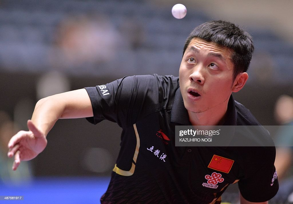 China's Xu Xin serves against Serbia's Zolt Pete during their match in the men's team championship division group A at the 2014 World Team Table Tennis Championships in Tokyo on May 1, 2014.