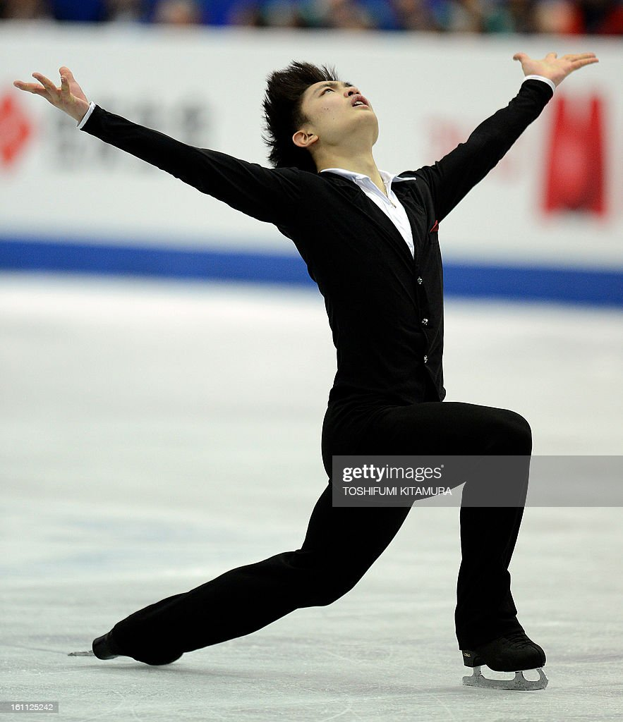 China's Yan Han performs during the men's 'free skating' event during the Four Continents figure skating championships in Osaka on February 9, 2013. AFP PHOTO / TOSHIFUMI KITAMURA
