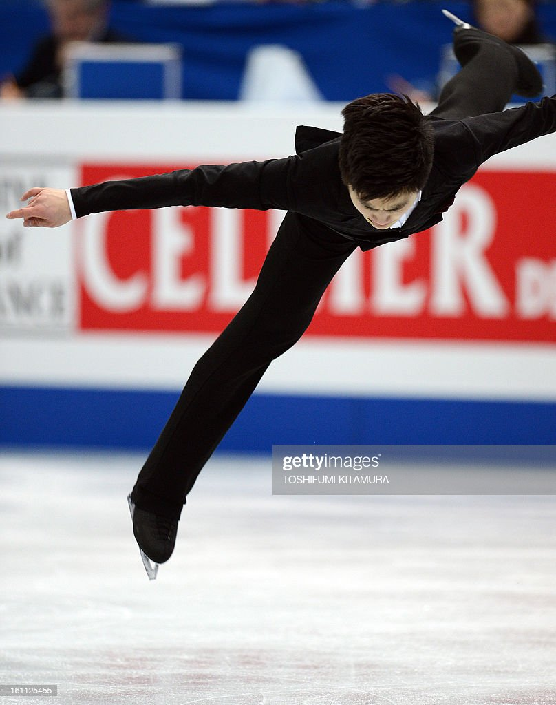 China's Yan Han performs during the men's free skating event during the Four Continents figure skating championships in Osaka on February 9, 2013.
