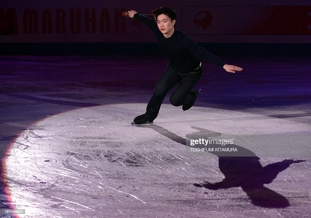 China's Yan Han performs his men's routine in the gala exhibition event after the Four Continents figure skating championships in Osaka on February 11, 2013. AFP PHOTO / TOSHIFUMI KITAMURA