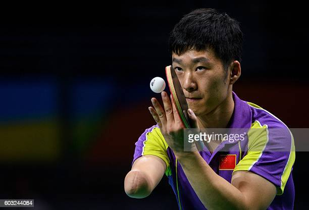 China's Yang Ge wins the gold medal in his match against Poland's Patryk Chojnowski in the men's singles Class 10 gold medal match table tennis at...