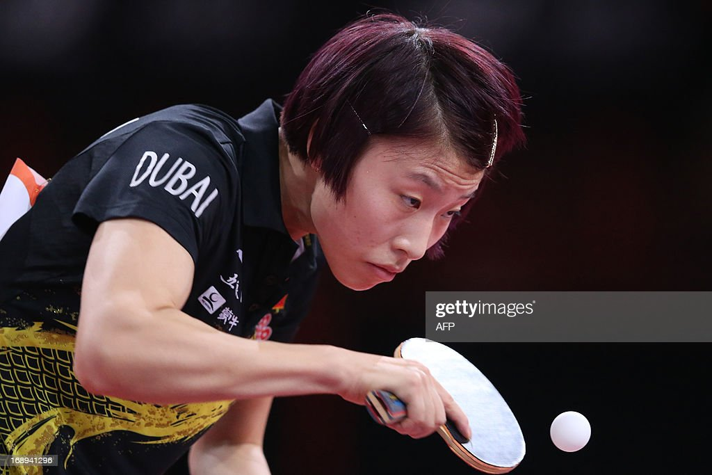 China's Yang Wu plays against North Korea's Hye Song Kim on May 17, 2013 in Paris, during the fourth round of Women's Singles of the World Table Tennis Championships.